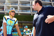 Alberto Contador of Spain and Astana chats to team boss Johan Bruyneel as he prepares to train with his team in preparation for 2009 Tour de France which begins on saturday,  on July 2, 2009 in Monaco, Monaco.