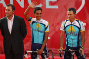Astana Team members (L to R) Johan Bruyneel, Alberto Contador and Lance Armstrong attend the Official Team Presentation for 2009 Tour de France,  on July 2, 2009 in Monaco, Monaco.
