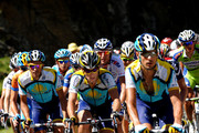 Lance Armstrong (C) of USA and team Astana climbs flanked by his teammate Alberto Contador (L) of Spain up the Col d'Agnes during stage eight of the 2009 Tour de France from Andorra la Vella to St Girons on July 11, 2009 on Col d'Agnes, France.