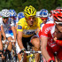 Fabian Cancellara of Switzerland and Team Saxo Bank rides in his yellow jersey amid the peloton during stage three of the 2009 Tour de France from Marseille to La Grande Motte on July 6, 2009 in La Grande Motte, France. The stage was won by Mark Cavendish of Great Britain and Team Columbia.