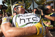 Mark Cavendish of Great Britain and Team Columbia-HTC embraces team mate Mark Renshaw of Australia after winning Stage Twenty One of the Tour de France on July 26, 2009 in Paris, France.
