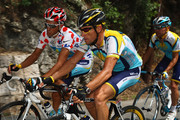 Lance Armstrong of the USA and Astana chats to team mate Alberto Contador of Spain during stage two of the 2009 Tour de France from Monaco to Brignoles on July 5, 2009 in Brignoles.