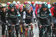 Gianni Moscon (L) of Team Sky and Italy rides with team mates Peter Kennaugh (C) of Great Britain and Nicolas Roche of Ireland during the third stage of the 2016 Tour de Yorkshire between Middlesbrough and Scarborough on May 1, 2016 in Scarborough, England.