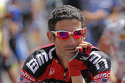 George Hincapie of the BMC Racing Team prepares for the start of stage seven of the 2011 AMGEN Tour of California from Claremont to Mt. Baldy on May 21, 2011 in Claremont, California.