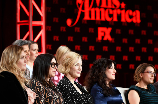 2020 Winter TCA Tour - Day 3 [event,performance,musical,talent show,design,fun,stage,heater,performing arts,musical theatre,mrs.,tracey ullman,coco francini,dahvi waller,anna boden,sarah paulson,speak,l-r,pasadena,winter tca,sarah paulson,cate blanchett,dahvi waller,tracey ullman,mrs. america,photography,image,getty images]