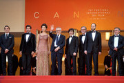 """Pierfrancesco Favino, Maria Fernanda Candido, Marco Bellocchio, Luigi Lo Cascio, Fausto Russo Alesi and guests attend the screening of """"The Traitor"""" during the 72nd annual Cannes Film Festival on May 23, 2019 in Cannes, France."""