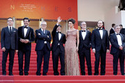 """Pierfrancesco Favino, Maria Fernanda Candido, Marco Bellocchio, Luigi Lo Cascio, Fausto Russo Alesi and guests iattends the screening of """"The Traitor"""" during the 72nd annual Cannes Film Festival on May 23, 2019 in Cannes, France."""