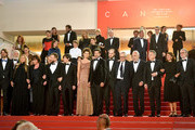 """Luigi Lo Cascio, Maria Fernanda Canido, Pierfrancesco Favino, Fausto Russo Alesi, Marco Bellocchio and the cast and crew attend the screening of """"The Traitor"""" during the 72nd annual Cannes Film Festival on May 23, 2019 in Cannes, France."""