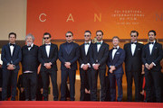 """Malcolm Venville, Orlando Bloom, Leonardo DiCaprio and Jean-Eric Vergne plus guests attend the screening of """"The Traitor"""" during the 72nd annual Cannes Film Festival on May 23, 2019 in Cannes, France."""