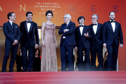 """Pierfrancesco Favino, Maria Fernanda Candido, Marco Bellocchio, Luigi Lo Cascio and Fausto Russo Alesi attend the screening of """"The Traitor"""" during the 72nd annual Cannes Film Festival on May 23, 2019 in Cannes, France."""