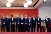 """Nelson Piquet Jr., Malcolm Venville, Orlando Bloom, Leonardo DiCaprio, Andre Lotterer, Jean-Eric Vergne and Sam Bird attend the screening of """"The Traitor"""" during the 72nd annual Cannes Film Festival on May 23, 2019 in Cannes, France."""