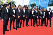 """Jean-Eric Vergne, Orlando Bloom, Leonardo DiCaprio, Alejandro Agag, Andre Lotterer, Sam Bird, Malcolm Venville and Nelson Piquet Jr. attend the screening of """"The Traitor"""" during the 72nd annual Cannes Film Festival on May 23, 2019 in Cannes, France."""