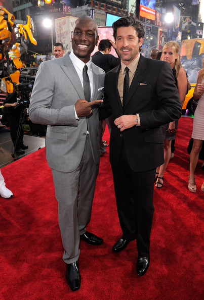 "Tyrese Gibson and Patrick Dempsey attend the New York premiere of ""Transformers: Dark Side Of The Moon"" in Times Square on June 28, 2011 in New York City."