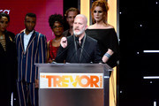 (L-R) Steven Canals, Dominique Jackson, Billy Porter, Hailie Sahar, Ryan Jamaal Swain, Indya Moore, Janet Mock, Mj Rodriguez, Dyllon Burnside, Charlayne Woodard, James Van Der Beek, Our Lady J, and Ryan Murphy of POSE are honored onstage during the Trevor Project's TrevorLIVE LA 2018 at The Beverly Hilton Hotel on December 3, 2018 in Beverly Hills, California.