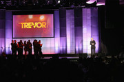 The Cast of Glee speak onstage at 'TrevorLIVE LA' honoring Jane Lynch and Toyota for the Trevor Project at Hollywood Palladium on December 8, 2013 in Hollywood, California.