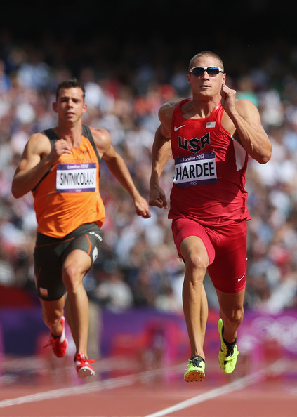 Trey Hardee Trey Hardee of the United States (R) and Eelco Sintnicolaas of Netherlands compete in the Men's Decathlon 100m Heats on Day 12 of the London 2012 Olympic Games at Olympic Stadium on August 8, 2012 in London, England.