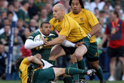 Bryan Habana of South Africa is tackled by Adam Ashley-Cooper and Stephen Moore during the 2010 Tri-Nations match between the South African Springboks and the Australian Wallabies at Vodacom Park on September 4, 2010 in Bloemfontein, South Africa.