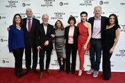 Carolyn Bernstein, Lt. Col. Jerry Jaax, Richard Preston, Lynda Obst, Lt. Col. Nancy Jaax, Julianna Margulies, Noah Emmerich, and Courteney Monroe attend Tribeca TV: The Hot Zone during the 2019 Tribeca Film Festival at SVA Theater on April 30, 2019 in New York City.