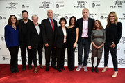 Carolyn Bernstein, Brian Peterson, Richard Preston, Lt. Col. Jerry Jaax, Lt. Col. Nancy Jaax, Courteney Monroe, Noah Emmerich, Lynda Obst, and Kelly Souders attend Tribeca TV: The Hot Zone during the 2019 Tribeca Film Festival at SVA Theater on April 30, 2019 in New York City.