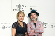 """Actor, panel moderator, and voice of Lisa Simpson, Yeardley Smith (L) and actor and voice of multiple characters Harry Shearer attend """"Tribeca TV: The Simpsons 30th Anniversary"""" during the 2019 Tribeca Film Festival at BMCC Tribeca PAC on April 28, 2019 in New York City."""