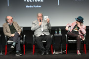 """(L-R) Executive Producer James L. Brooks, creator and Executive Producer Matt Groening, and actor and voice of multiple characters Harry Shearer, speak on stage at """"Tribeca TV: The Simpsons 30th Anniversary"""" during the 2019 Tribeca Film Festival at BMCC Tribeca PAC on April 28, 2019 in New York City."""