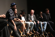 JR, Lauren Lovette,  Charles Riley, Hans Zimmer, Ladj Ly and Benjamin Wallfisch attend Tribeca Talks After The Movie:Les Bosquets during the 2015 Tribeca Film Festival at SVA Theater on April 26, 2015 in New York City.