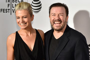 """Jane Fallon (L) and director and writer Ricky Gervais attends the premiere """"Special Correspondents"""" during the 2016 Tribeca Film Festival at BMCC John Zuccotti Theater on April 22, 2016 in New York City."""