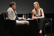 David O. Russell and Jennifer Lawrence speaks at the Tribeca Talks - Director Series - David O. Russell with Jennifer Lawrence at the 2019 Tribeca Film Festival at BMCC Tribeca PAC on April 27, 2019 in New York City.