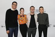 Sam Esmail, Carly Chaikin, Christian Slater and Rami Malek attends Tribeca Talks - A Farewell To Mr. Robot - 2019 Tribeca Film Festival at Spring Studio on April 28, 2019 in New York City.
