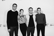 Image has been converted to black and white.) Sam Esmail, Carly Chaikin, Christian Slater and Rami Malek attends Tribeca Talks - A Farewell To Mr. Robot - 2019 Tribeca Film Festival at Spring Studio on April 28, 2019 in New York City.