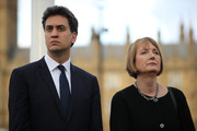 Former Labour Leader Ed Miliband and former deputy Leader of the Labour Party Harriet Harman attend a vigil in memory of Labour MP Jo Cox on Parliament Square on June 17, 2016 in London, England. The Labour MP for Batley and Spen was about to hold her weekly constituency surgery in Birstall Library yesterday when she was shot and stabbed in the street on June 16. A 52-year old man is being held in Police custody in connection with the death.
