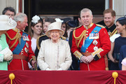 Prince Charles, Prince of Wales, Princess Beatrice, Princess Anne, Princess Royal, Queen Elizabeth II, Prince Andrew, Duke of York, Prince Harry, Duke of Sussex and Meghan, Duchess of Sussex during Trooping The Colour, the Queen's annual birthday parade, on June 08, 2019 in London, England.