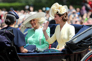 Camilla, Duchess of Cornwall and Catherine, Duchess of Cambridge during Trooping The Colour, the Queen's annual birthday parade, on June 08, 2019 in London, England.