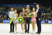 Ksenia Stolbova and Fedor Klimov of Russia skate to gold, Wenjing Sui and Cong Han of China win Silver and  Xuehan Wang and Lei Wang of China during the Pairs Free program during day two of Trophee Eric Bompard ISU Grand Prix of Figure Skating at the Meriadeck Ice Rink on November 22, 2014 in Bordeaux, France.