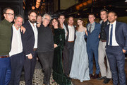"(L-R) Shaun Grant, Hal Vogel, Justin Kurzel, Peter Carey, Essie Davis, Earl Cave, Sean Keenan, Thomasin McKenzie, George Mackay, Marlon Williams and Charlie Hunnam attend  ""The True History Of The Kelly Gang"" World Premiere Party Hosted By Grolsch at Weslodge, during the Toronto International Film Festival on September 11, 2019 in Toronto, Canada."