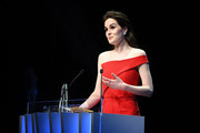 "Michelle Dockery speaks on stage at the Launch of the Official Competition and ""The Truth About The Harry Quebert Affair"" screening during the 1st Cannes International Series Festival at Palais des Festivals on April 7, 2018 in Cannes, France."