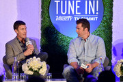 """TV personality Jeff Lewis (L) and novelist Elwood Reid speak onstage at the """"TV's Creative Trailblazers"""" panel during Tune In! Variety's TV Summit at Intercontinental Century City on August 6, 2014 in Century City, California."""