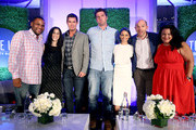 """Comedian Anthony Anderson, writer Erin Levy, TV personality Jeff Lewis, novelist Elwood Reid, TV personality Nicole Richie, comedian Paul Scheer and Variety moderator Jenelle Riley attend the """"TV's Creative Trailblazers"""" panel during Tune In! Variety's TV Summit at Intercontinental Century City on August 6, 2014 in Century City, California."""