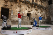 Sergio Garcia of Spain and Lee Westwood of England take on the challenge to hit golf balls over the towering walls of the 2,000 year-old Amphitheater of Aspendos to launch the 2014 Turkish Airlines Open on November 11, 2014 in Antalya, Turkey. The Turkish Airlines Open presented by the Ministry of Youth and Sports, takes place in the historic city of Antalya at the Montgomerie Maxx Royal Golf Course, 13-16 November. The tournament features a high-class field of international golfers competing for a $7 million prize fund.