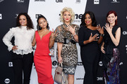 (L-R) Judy Reyes, Karrueche Tran, Jenn Lyon, Niecy Nash and Carrie Preston of Claws attend the Turner Upfront 2018 arrivals on the red carpet at The Theater at Madison Square Garden on May 16, 2018 in New York City. 376263