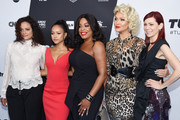 (L-R) Judy Reyes, Karrueche Tran, Niecy Nash, Jenn Lyon, and Carrie Preston of Claws attend the Turner Upfront 2018 arrivals on the red carpet at The Theater at Madison Square Garden on May 16, 2018 in New York City. 376263