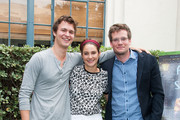 """(L-R)  Ansel Elgort, Shailene Woodley and John Green attend the Twentieth Century Fox Home Entertainment's """"The Fault In Our Stars"""" Reunion And Bench Dedication Ceremony at Fox Studio Lot on November 20, 2014 in Century City, California."""