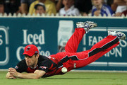 Daniel Harris of the Redbacks dives, but fails to take a catch during the Twenty20 Big Bash match between the South Australian Redbacks and the Queensland Bulls at Adelaide Oval on January 20, 2011 in Adelaide, Australia.