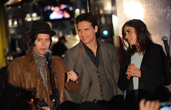 (L-R) Actors Jackson Rathbone, Peter Facinelli and Nikki Reed  attends the Twilight Forever Fan Experience Exhibit launch at Planet Hollywood Times Square on November 4, 2013 in New York City.