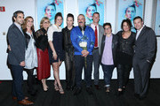 (L-R) Howard Gertler, Laina Cohn, Laura Michalchyshyn, Anastasia Bucsis, Johnny Weir, Noam Gonick, Mark Tewksbury, Elle Flanders, Jill Burkhart and Ross Bernard attend 'Two Russia With Love' New York Premiere at The Paramount Screening Room on October 22, 2014 in New York City.