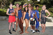 (L-R) Team USA athletes Katie Lou Samuelson; Jesse Smith, Ashleigh Johnson; Maggie Steffens; Alex Bowen; Carlin Isles, Kendall Ellis and Dana Vollmer celebrate the two year countdown to the 2020 Olympic Games in Tokyo at the Japanese American Community Center on July 24, 2018 in Los Angeles, California.