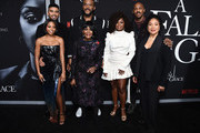 """(L-R Top Row) Matthew Law, Tyler Perry, and Mehcad Brooks, (L-R Bottom Row) Bresha Webb, Cicely Tyson, Crystal Fox and Phylicia Rashad attend the premiere of Tyler Perry's """"A Fall From Grace"""" at Metrograph on January 13, 2020 in New York City."""
