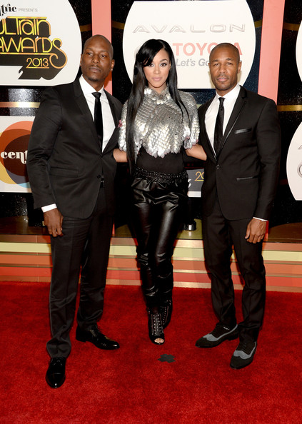 Arrivals at the Soul Train Awards [red carpet,suit,carpet,event,flooring,premiere,tuxedo,formal wear,arrivals,singers,tyrese gibson,kristal lyndriette,las vegas,nevada,orleans arena,tank,soul train awards]