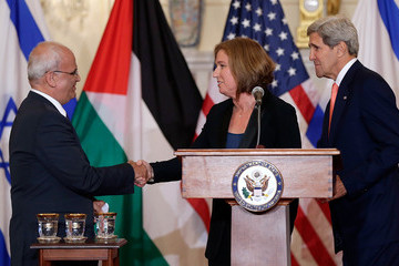 Tzipi Livni Secretary Of State John Kerry Speaks On The Middle East Peace Process