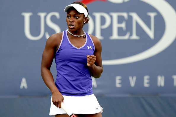 Sloane Stephens of the United States returns a shot against Elina Svitolina of the Ukraine during her girls' singles match on day eleven of the 2010 U.S. Open at the USTA Billie Jean King National Tennis Center on September 9, 2010 in the Flushing neighborhood of the Queens borough of New York City.